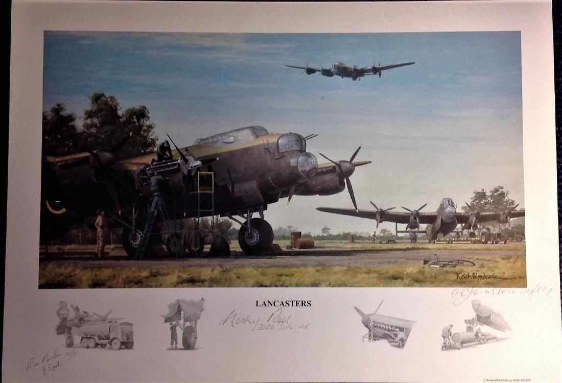 World War Two print 12x16 titled LANCASTERS by the