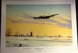 World War Two print approx 12x17 titled BREAKING THE