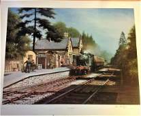 Railway Print approx 22x27 titled Much Wenlock signed