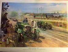 Historical Print approx 33x26 titled Bentleys at Le