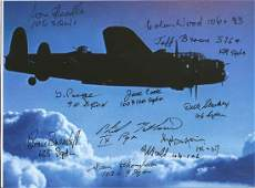 World War Two Lancaster 6x8 Colour photo signed by 11,