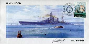HMS HOOD FDC dedicated to HMS Hood signed by Ted