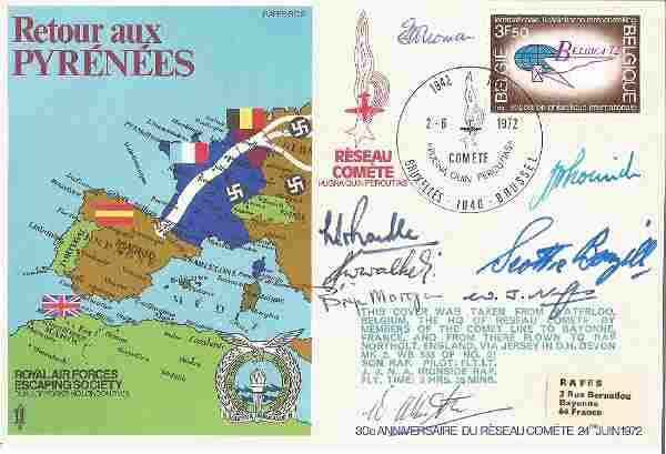 Multiple WW2 Comete line Escapers signed RAF Escaping