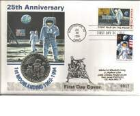 Apollo 11 25th ann US 1994 Coin FDC with Washington