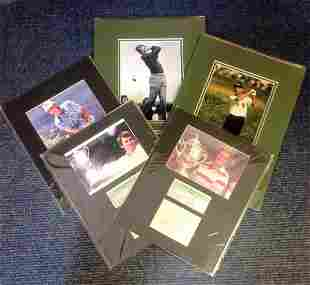 Golf collection 5 mounted signed photos and signature