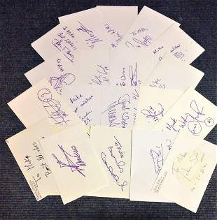 Football collection twenty 6x4 signed index cards