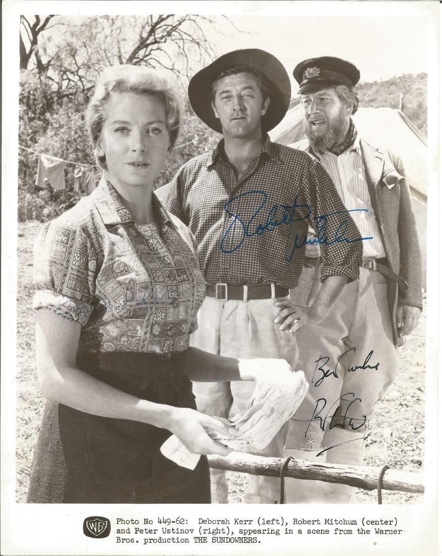 Robert Mitchum and Peter Ustinov signed 10 x 8 bw