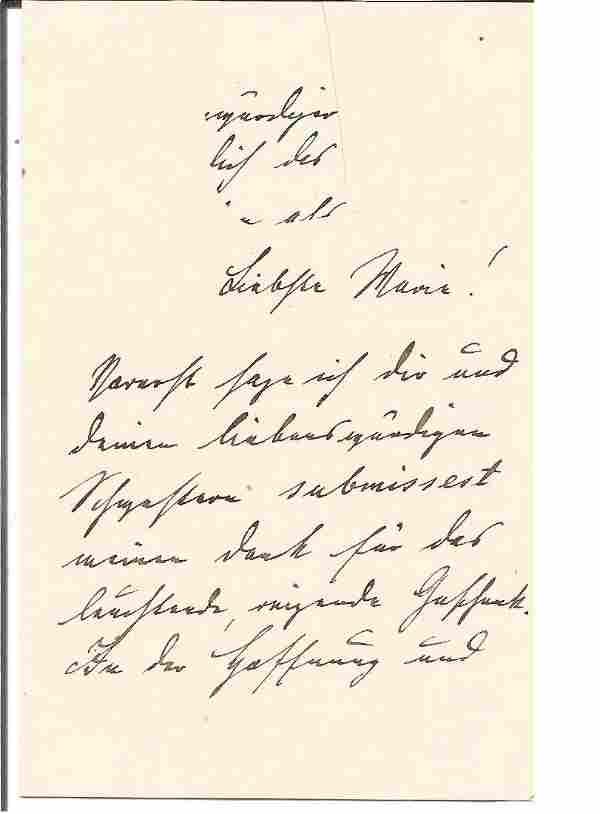 Kaiser Wilhelm II 1880s hand written letter to his