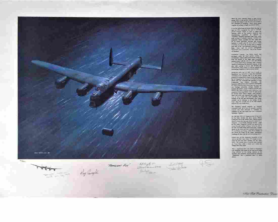 Dambusters World War Two print 20x27 titled 'Moonlight