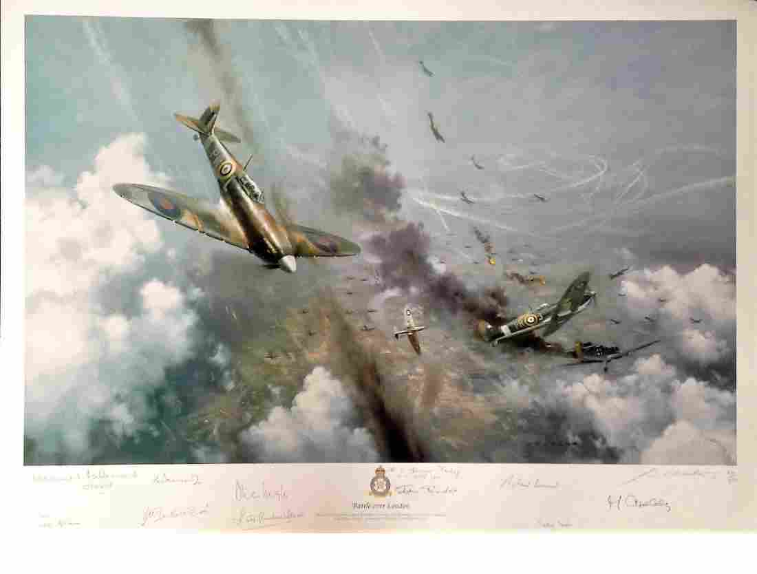 World War Two print 19x27 titled Battle over London by