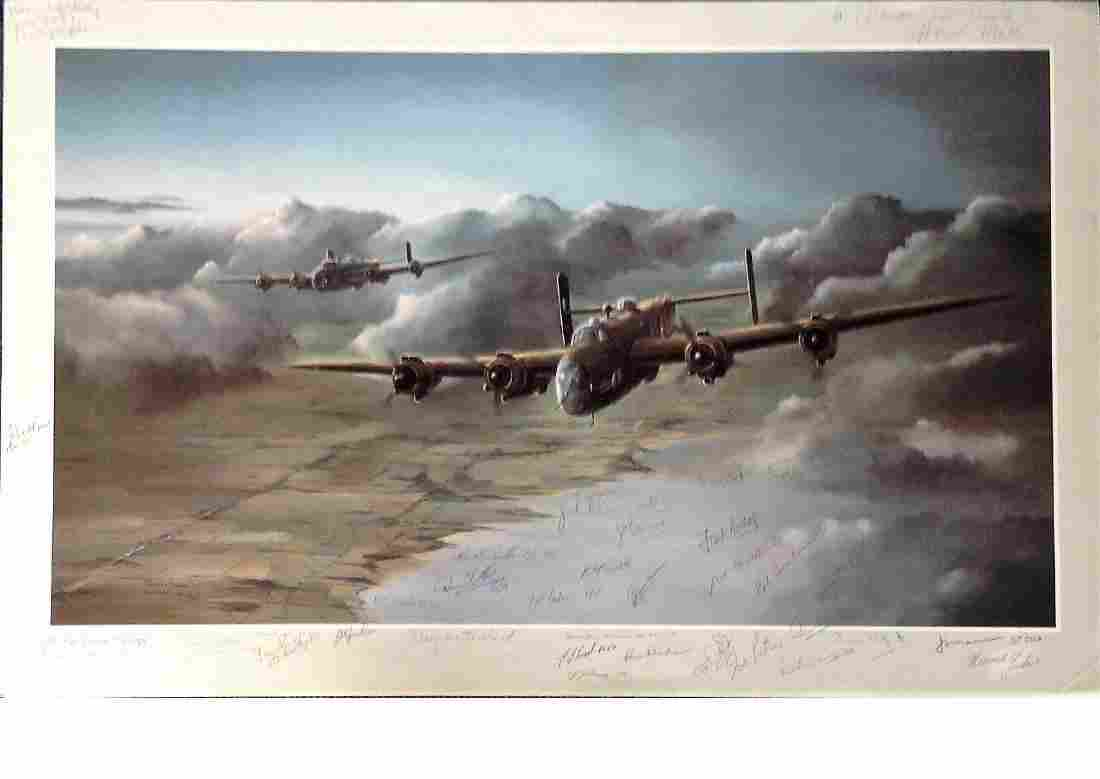 World War Two 19x30 Lancaster bomber print by the