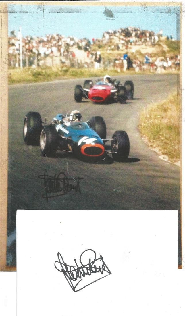 Motor Racing Sir Jackie Stewart 6x4 signed white card.