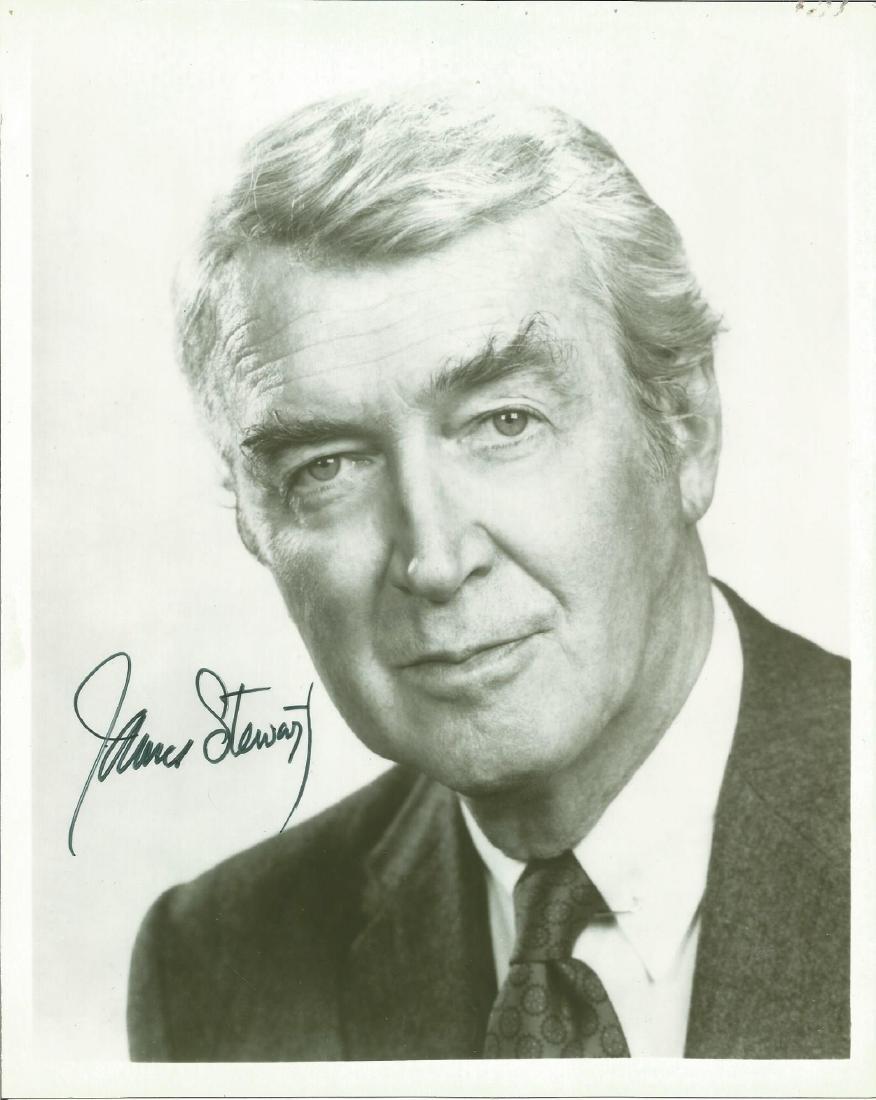 James Stewart signed 10 x 8 b/w portrait photo. Good