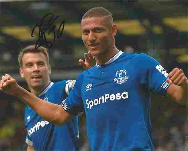 Richarlison Signed Everton 8x10 Photo. Good Condition.