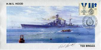 Hms Hood Cover dedicated to HMS Hood signed by Ted