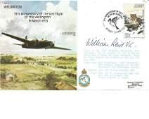 Bill Reid VC signed RAF Wellington bomber cover All
