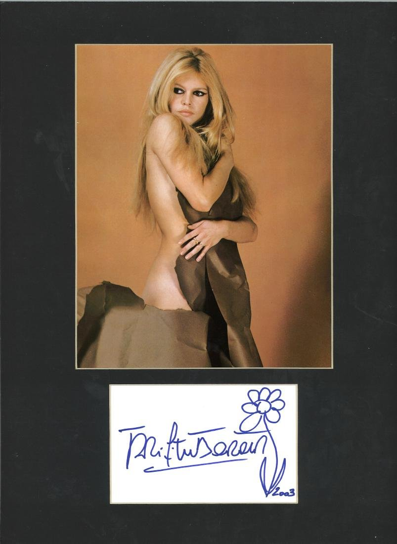 Brigitte Bardot signed card with flower doodle mounted