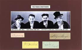 The Marx Brothers autograph pieces mounted with grainy