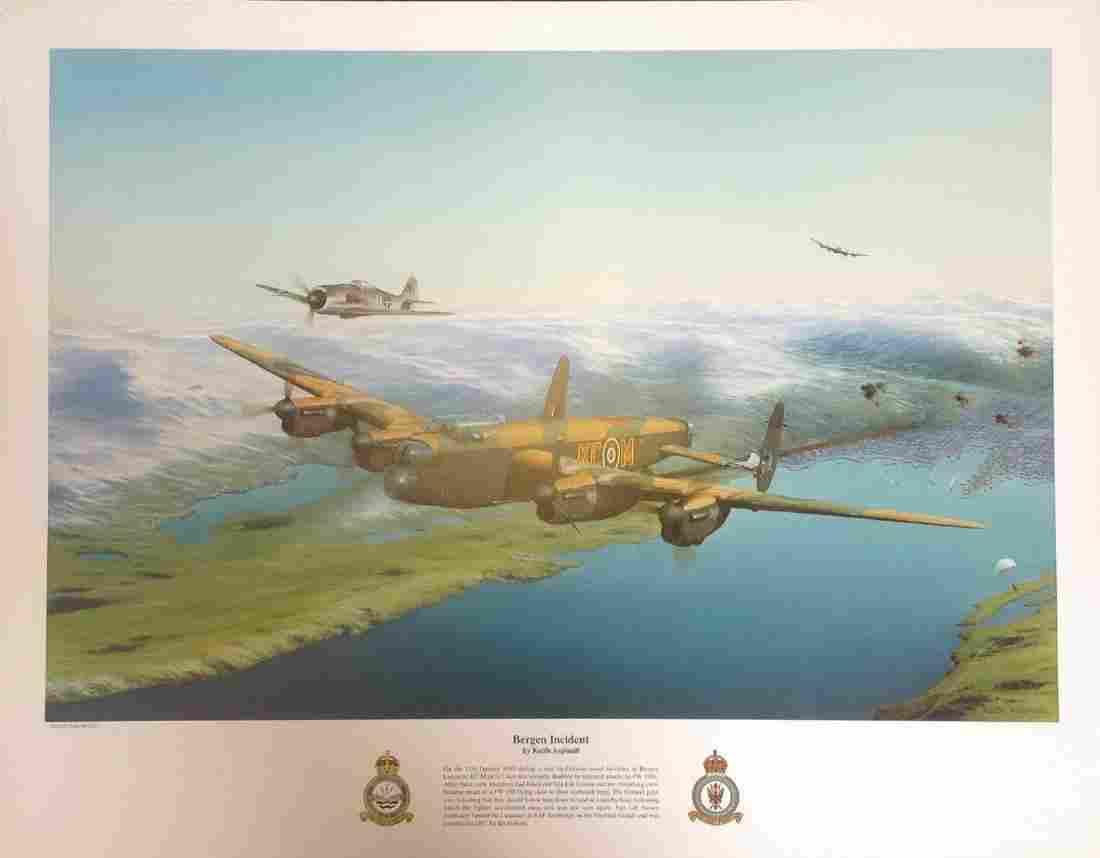 World War Two print 18x21 approx titled Bergen Incident