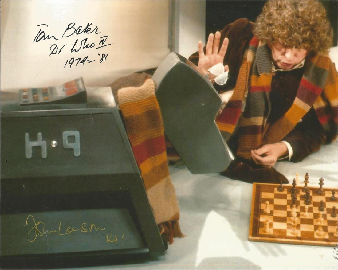 Tom Baker John Leeson Dr. Who dual signed 10x8 photo.