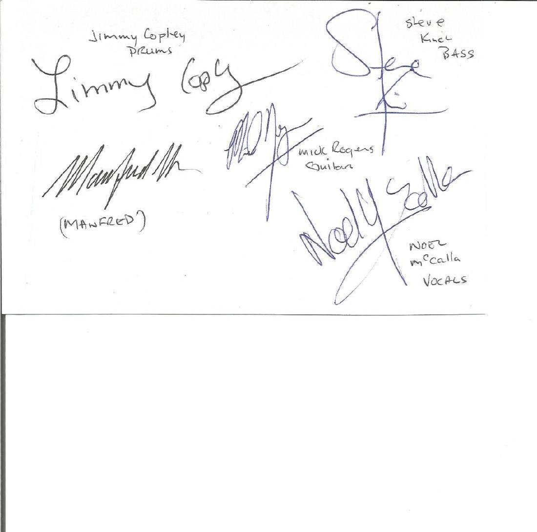 Manfred Mann signed 6x4 white card. Good Condition. All