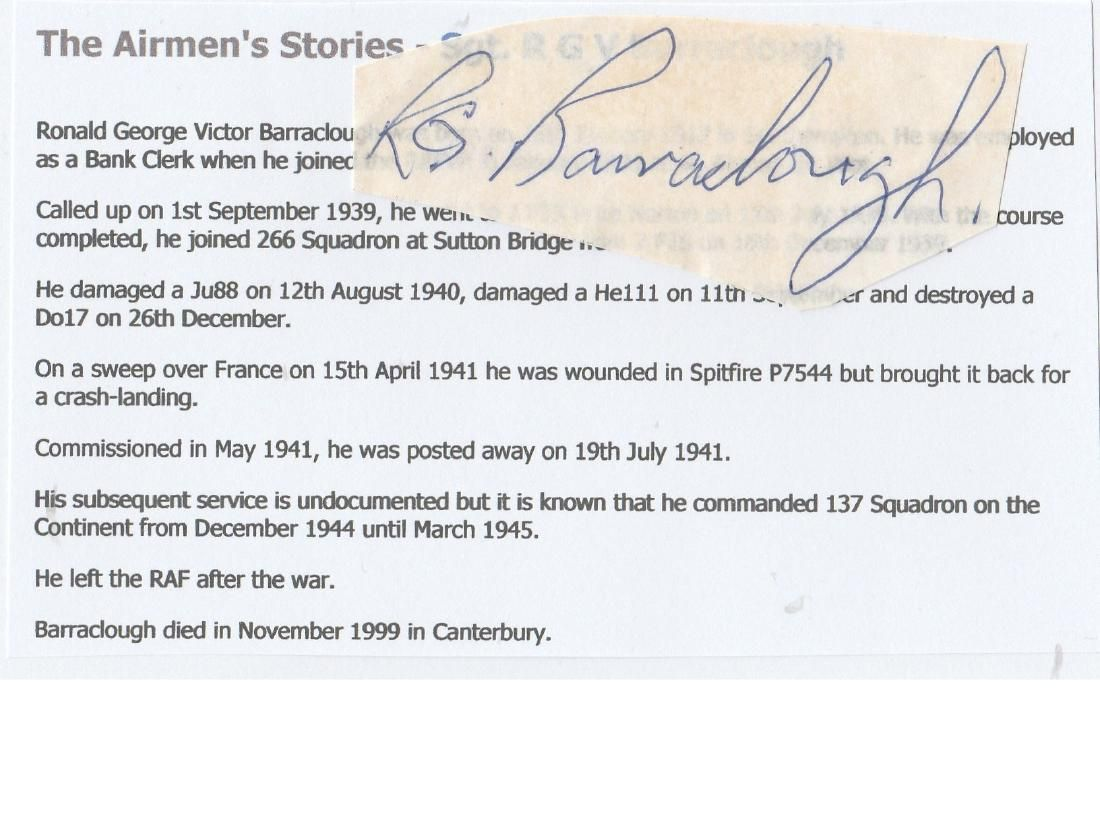 WW2 ace Signature of Sergeant (Later) Squadron Leader