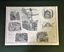 World War Two mounted pencil print 16x20 titled The