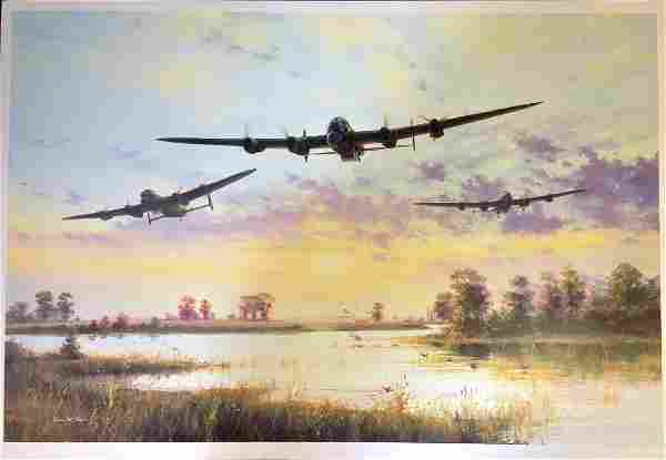 World War Two print 17x24 picturing Lancaster Bombers