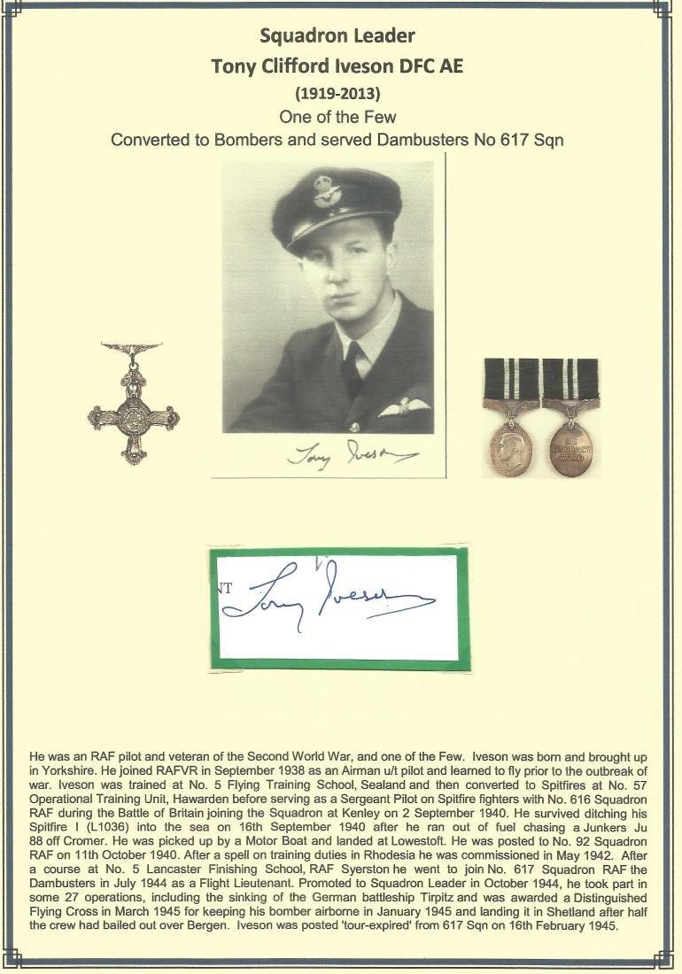 Squadron Leader Tony Clifford Iveson DFC Ae signature