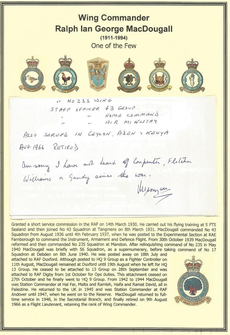 Wing Commander Ralph Ian George MacDougall handwritten