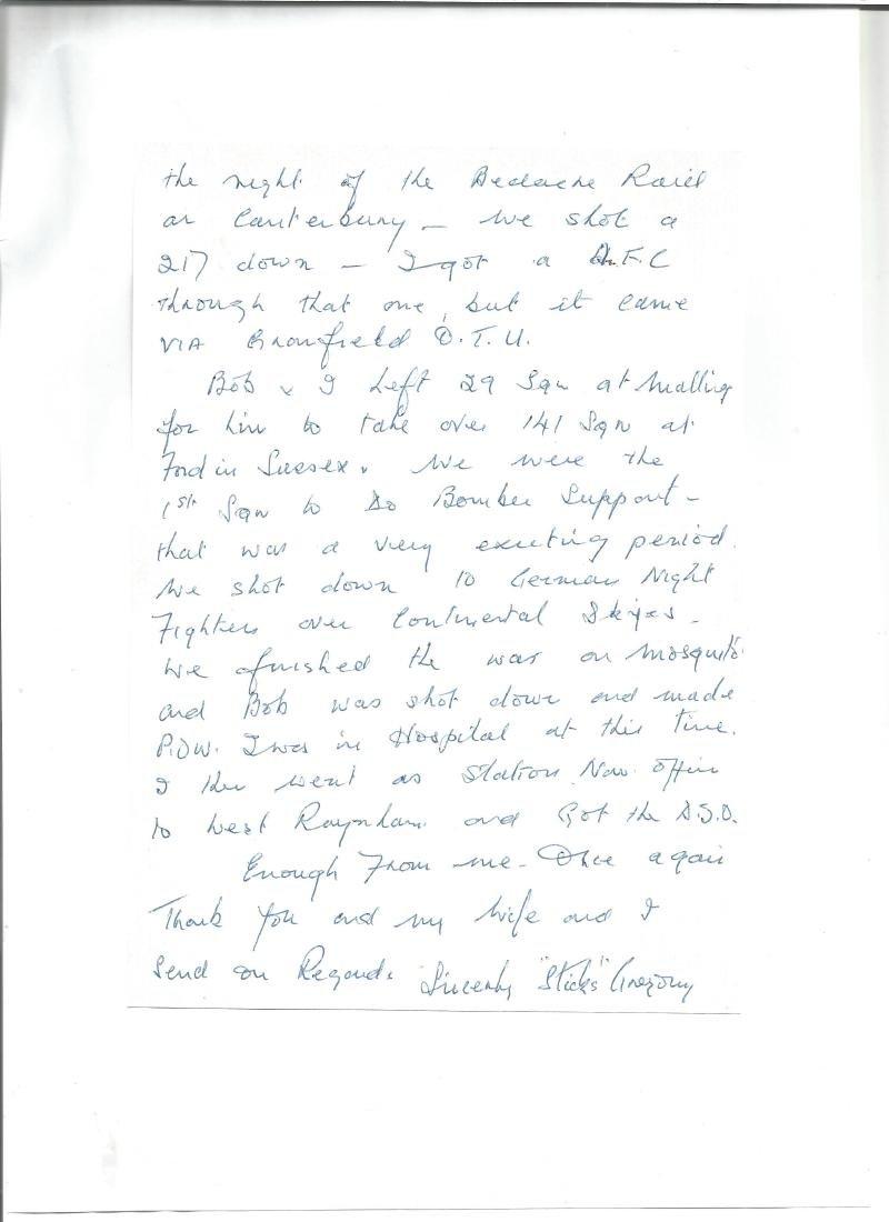 W Sticks Gregory 29 Sqn Battle of Britain handwritten