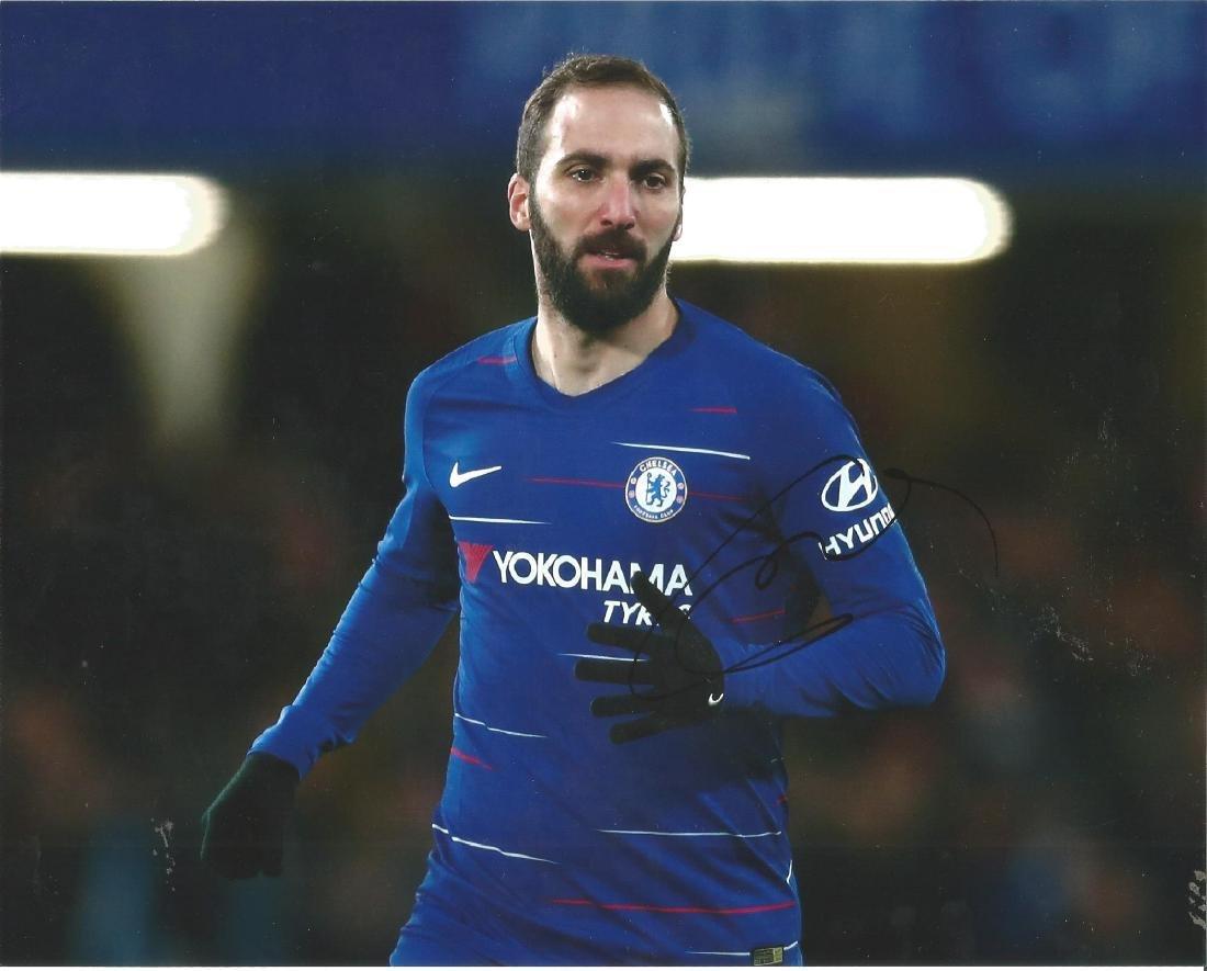 Gonzalo Higuiain Signed Chelsea 8x10 Photo. Good
