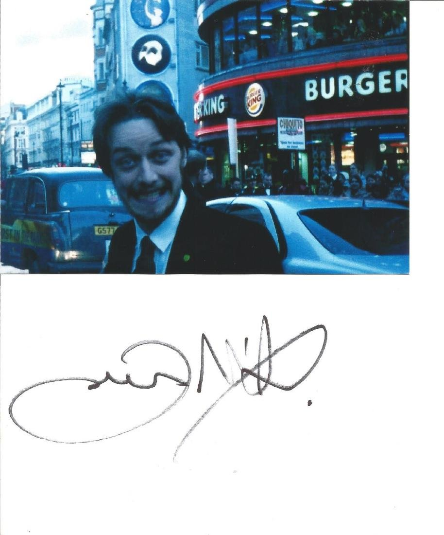 James McAvoy signed card approx 6 x 4 inches with small