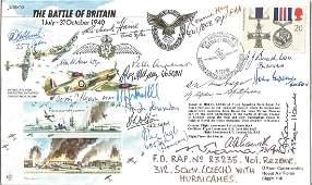 17 Battle of Britain VIPS signed 50th ann BOB cover.