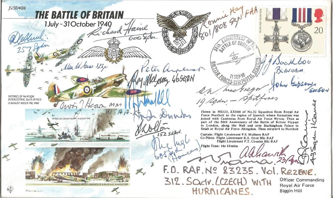 17 Battle of Britain VIPS signed 50th ann BOB cover.