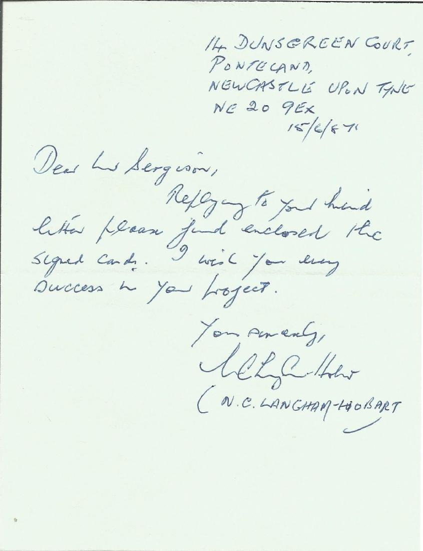 N C Langham Hobart Battle of Britain handwritten letter