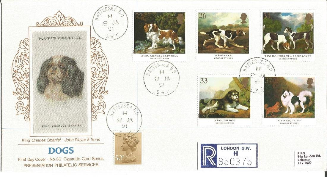 Dogs 1991 Cigarette card series silk FDC King Charles