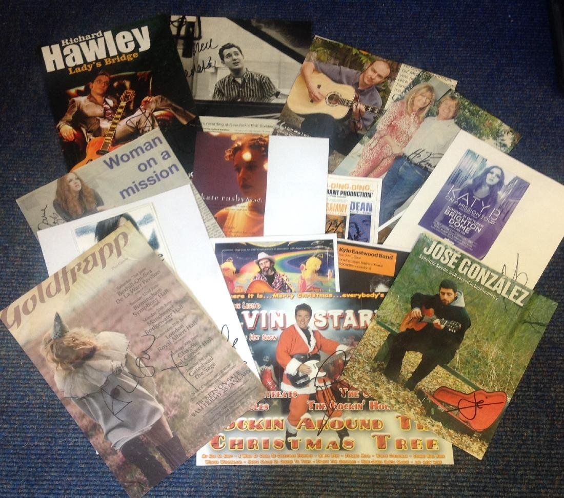 Entertainment and Music signed collection of flyers,