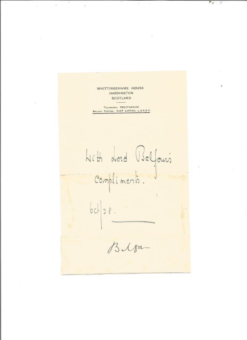 Arthur James Balfour signature piece. British Prime