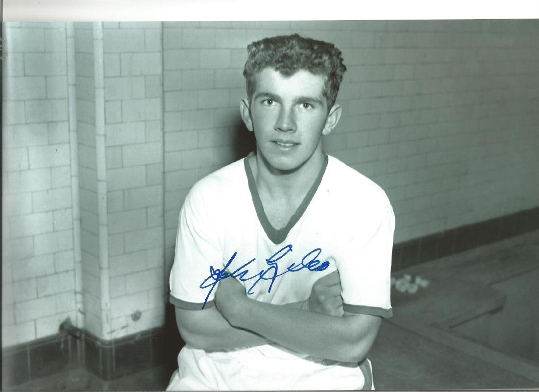 Autographed John Giles photo, a superb image depicting