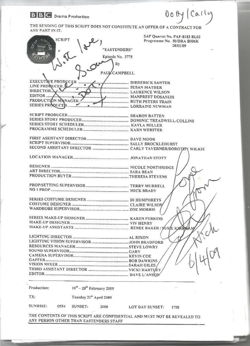 June Brown and John Altman signed Eastenders script.