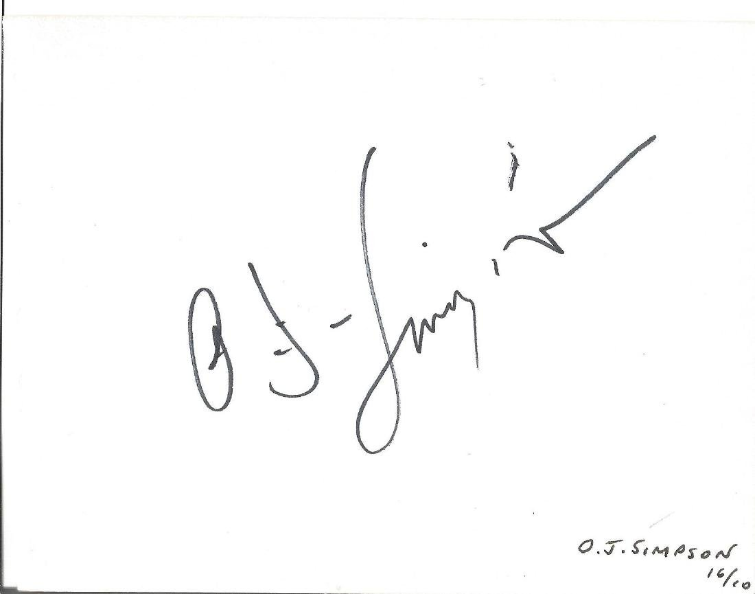 O J Simpson signed white card. Good Condition. All