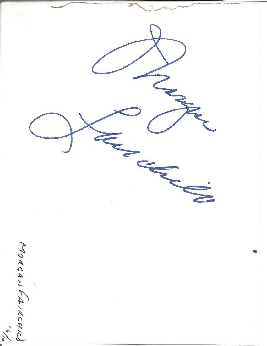 Morgan Fairchild signed album page. Good Condition. All