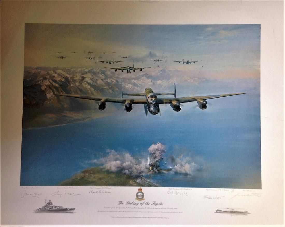 World War Two print 23x29 approx titled The Sinking of