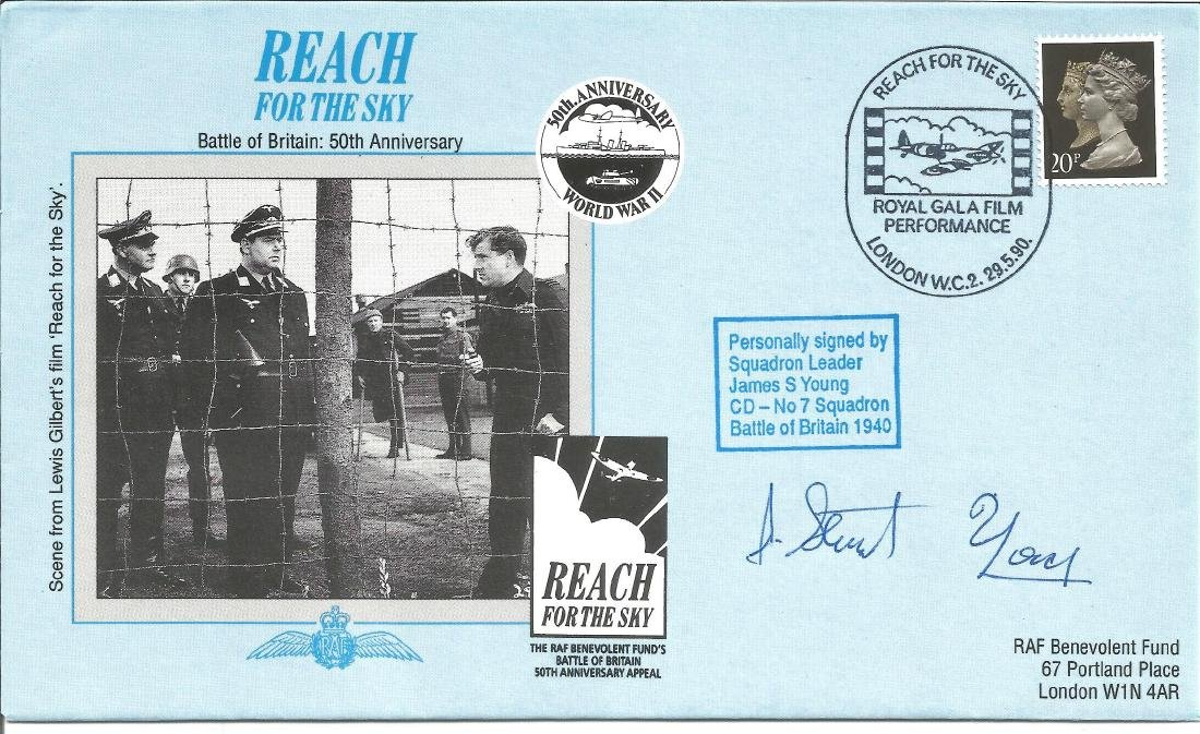 Sqn Ldr James Young signed Reach for the Sky cover. RAF