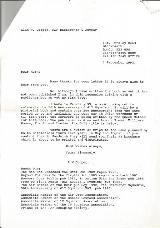 Marna Young sister of John Hopgood typed letter hand - Jul