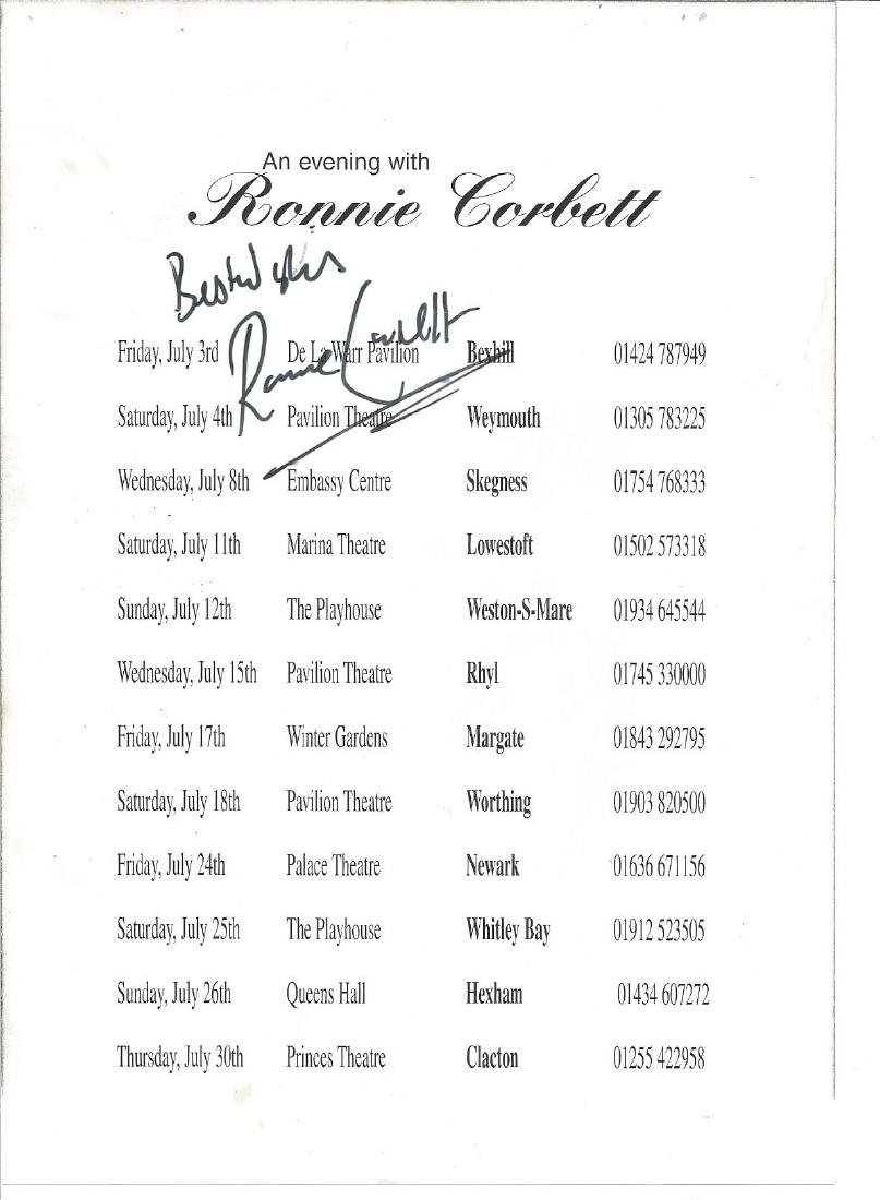 Ronnie Corbett signed show flyer. Good Condition. All