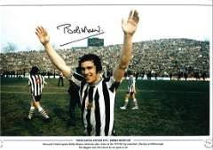 BOBBY MONCUR signed Newcastle United 1974 FA Cup 18x12