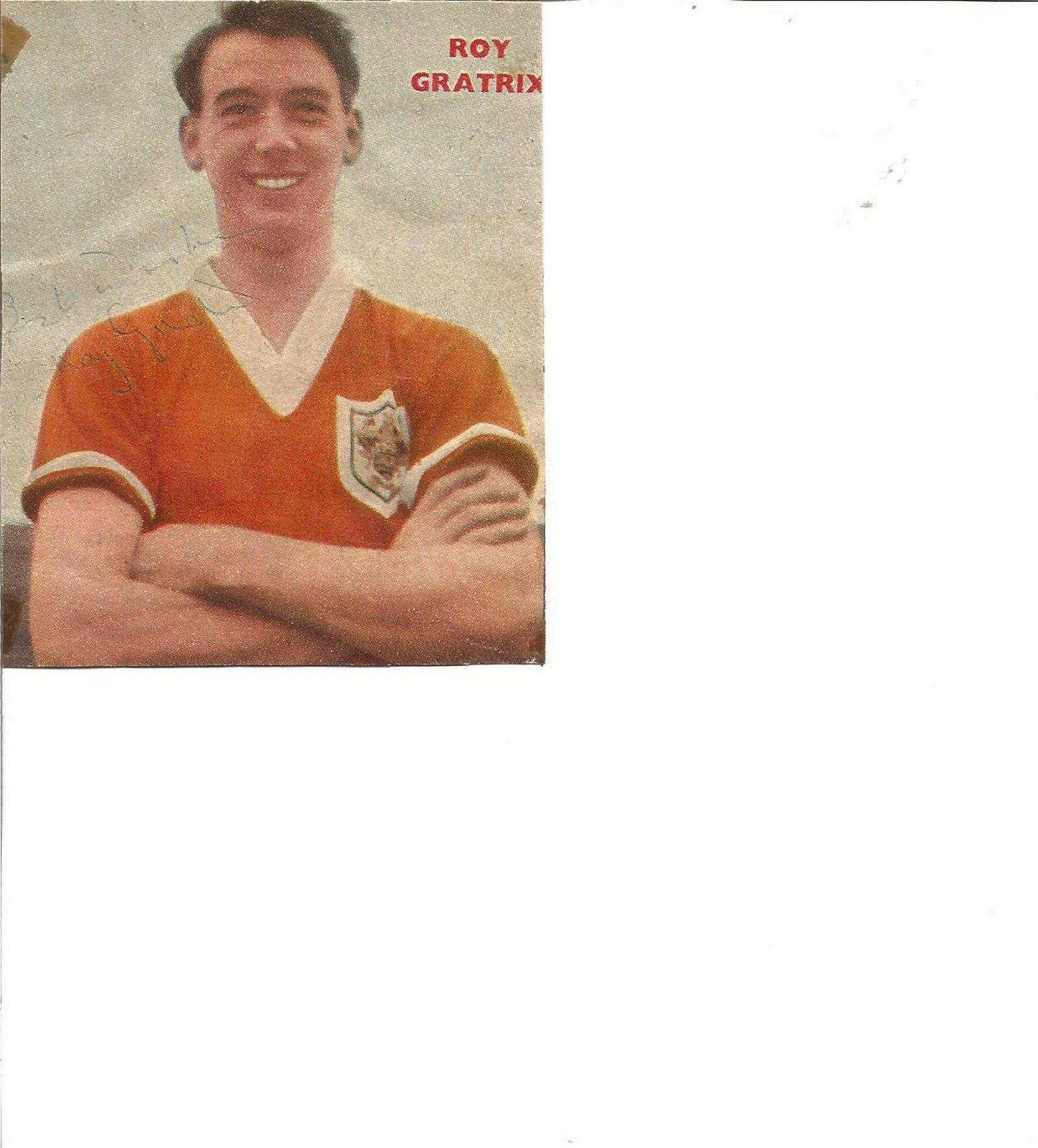 Football Legends Roy Gratrix Blackpool 4x3 signed