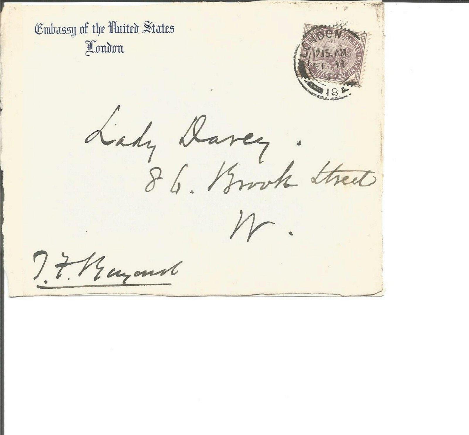 Thomas Francis Bayard signed 1911 envelope front